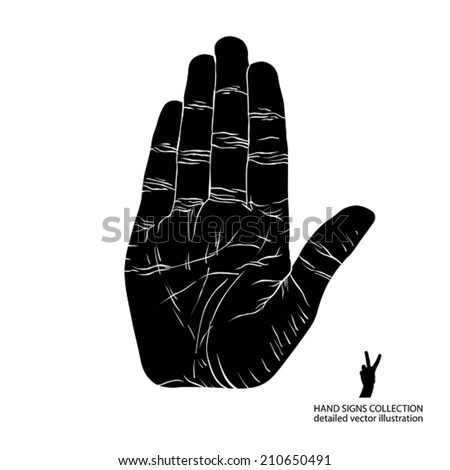 Stop hand sign, detailed black and white vector illustration. - stock vector