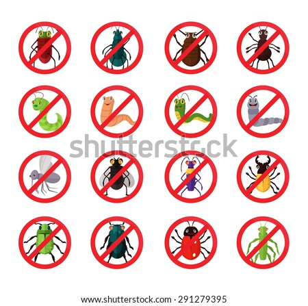 Stop insects. Vector flat icon set