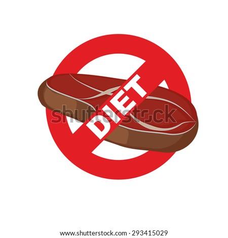 Stop meat. Banning food mark. Steak. Logo for diet. Vector illustration - stock vector