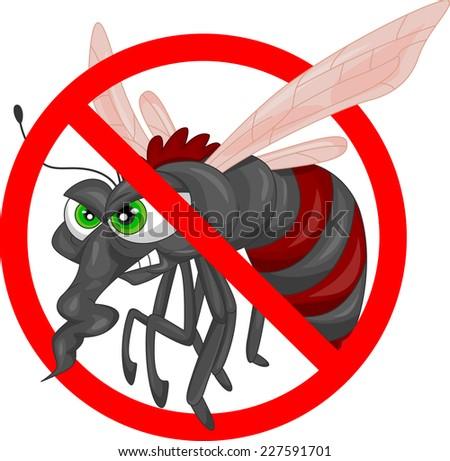 stop  mosquito cartoon - stock vector