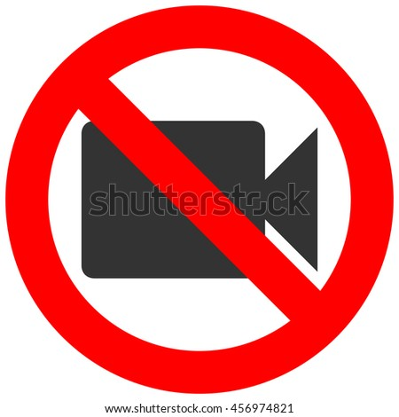 Stop or ban sign with camcorder icon isolated on white background. Video shooting is prohibited vector illustration. Using camera is not allowed image. Camcorders are banned.