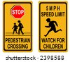 stop pedestrian crossing sign and speed limit - stock vector