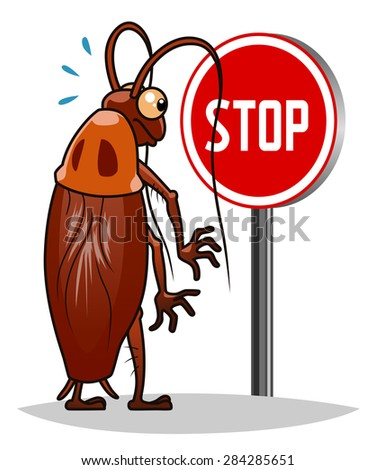 Stop pest illustration with a funny cartoon cockroach. - stock vector