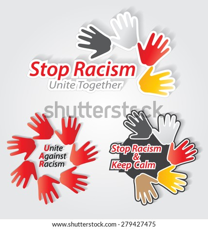 Stop racism colorful label set for creative design needs - stock vector