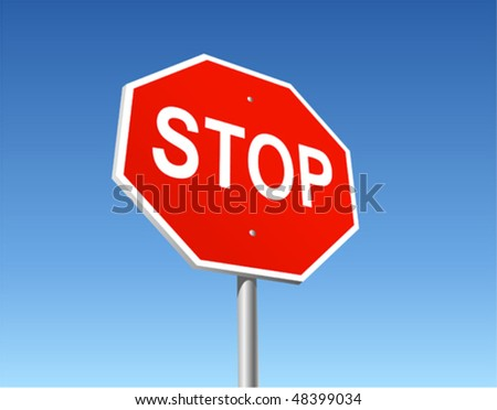 Stop road sign on the blue sky background. Vector illustration.