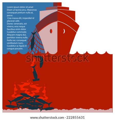 Stop shark finning and safe nature.Vector red flyer for design - stock vector