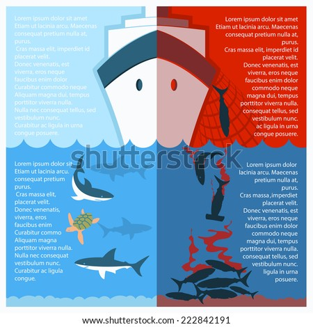 Stop shark finning poster for text.Vector color illustration with poaching vessel and killed shars - stock vector