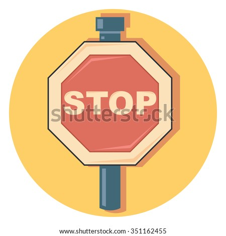 stop sign circle icon with shadow - stock vector