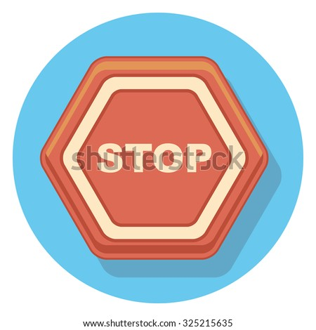 stop sign flat icon in circle - stock vector