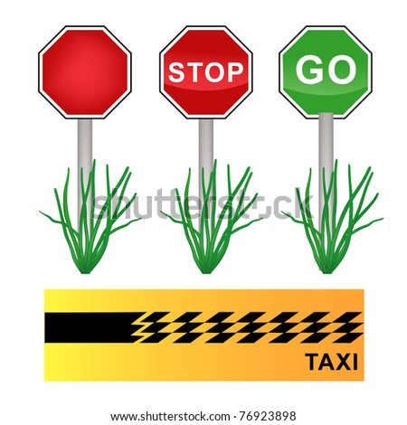 stop sign, go sign and taxi cab background - stock vector