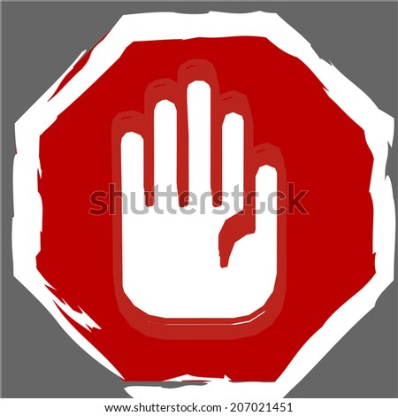 stop sign hand vector illustration - stock vector