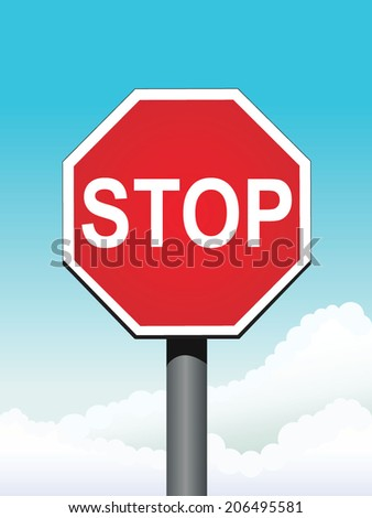 stop sign on sky background vector