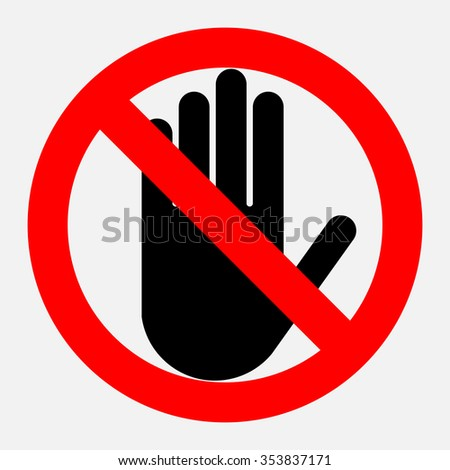 stop sign no entry black hand stock vector 290272343 - shutterstock