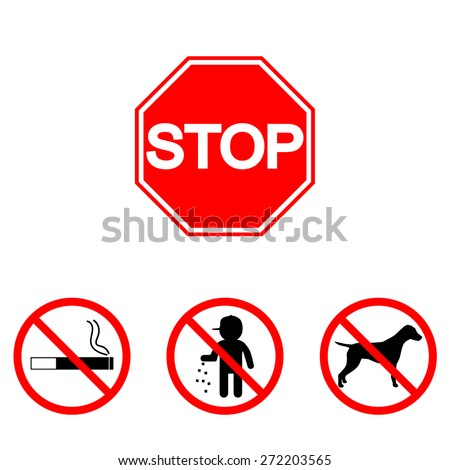 Stop sign. Set: animal, waste, smoking - stock vector