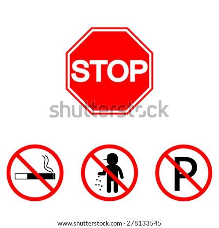 Stop sign. Set parking, smoking, trash - stock vector