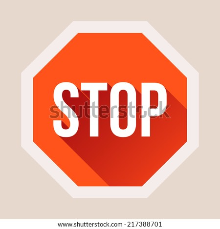 Stop sign with long shadow in flat style. Vector illustration - stock vector