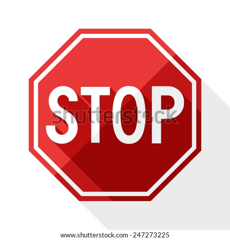 Stop sign with long shadow on white background - stock vector