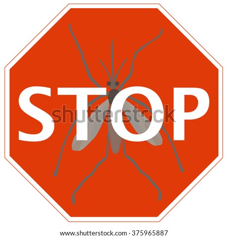 Stop Sign Mosquito Symbol Infectious Disease Stock Vector 375965887