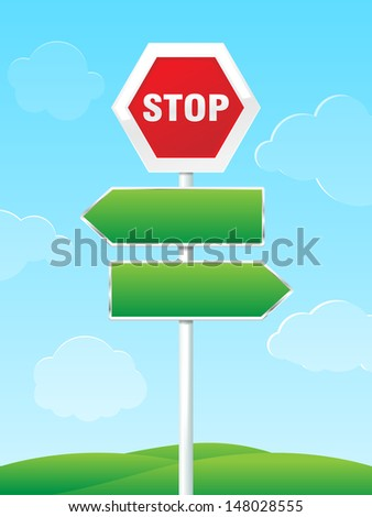Stop sign with two empty direction arrows. Blue sky with clouds and hills. / Road sign with direction arrows - stock vector