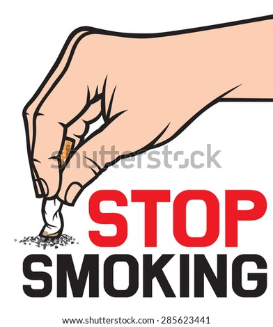 stop smoking concept - hand extinguishing a cigarette  - stock vector