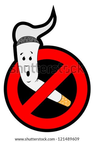 Stop smoking. The cigarette is placed in the sign ban. An isolated vector illustration. - stock vector