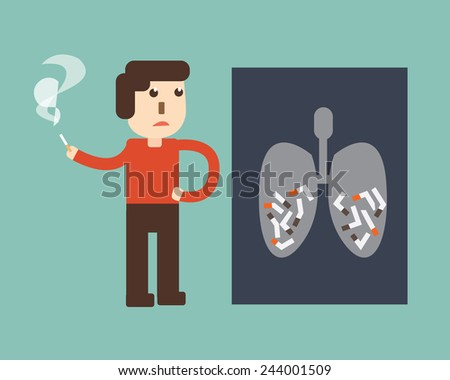 stop smoking  - X-ray of a human thorax with cigarette - stock vector