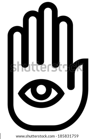 Stop spying hand outline vector icon - stock vector