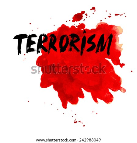 Stop terrorism. Ink. Vector - stock vector