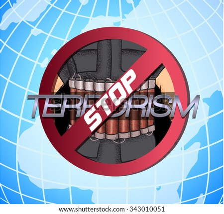 Stop The Terror. Icon against violence and terror - stock vector