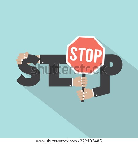Stop Typography With Stop Signboard Design Vector Illustration - stock vector
