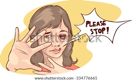 Stop violence against women - stock vector