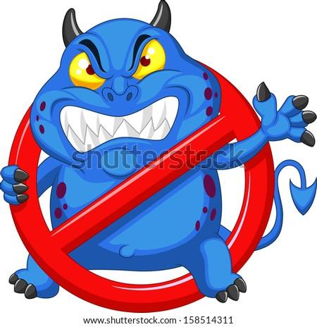 Stop virus - blue virus in red alert sign - stock vector