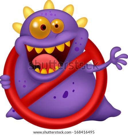 Stop virus - purple virus in red alert sign - stock vector