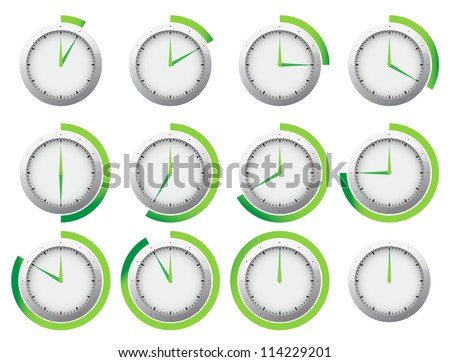 Stop watch or timer clock with 5 minutes intervals marked with bright orange color. All parts of the clock are editable vectors in separate layer. - stock vector