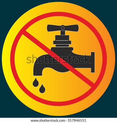 Stop water leak sign, water tap and drop icon - stock vector