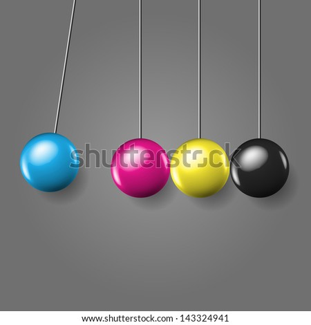 Stopped moment with polished eternal moving line of balls - concept vector illustration