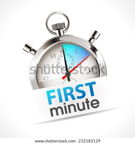 Stopwatch - first minute - promo time concept - stock vector