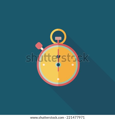 stopwatch flat icon with long shadow,eps10 - stock vector