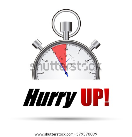 Stopwatch hurry up - stock vector