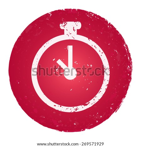 Stopwatch icon. Grunge style stamp. - stock vector