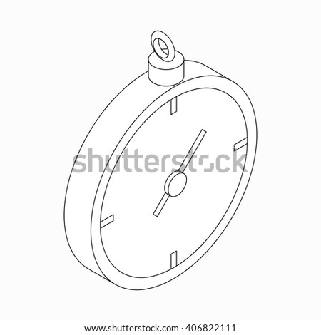 Stopwatch icon, isometric 3d style - stock vector