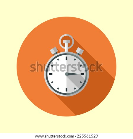 Stopwatch icon. Long shadow flat design. Vector illustration. - stock vector