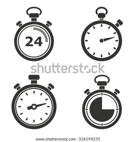 Stopwatch  icon  on white background. Vector illustration. - stock vector