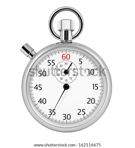Stopwatch isolated on white background. Vector illustration. Realistic. - stock vector