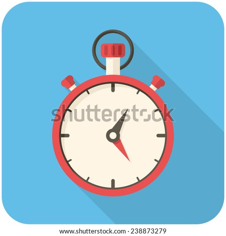 Stopwatch, modern flat icon with long shadow - stock vector