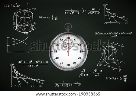 stopwatch on blackboard with math calculations vector illustration - stock vector