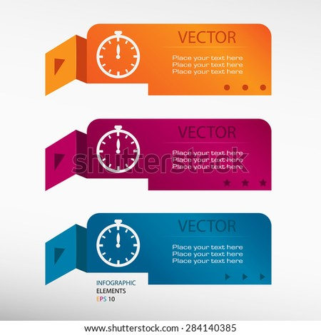 Stopwatch on origami paper banners. Can be used for workflow layout, diagram, business step options, banner, web design - stock vector