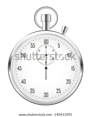 Stopwatch (or chronometer) isolated on white background. Vector illustration. - stock vector