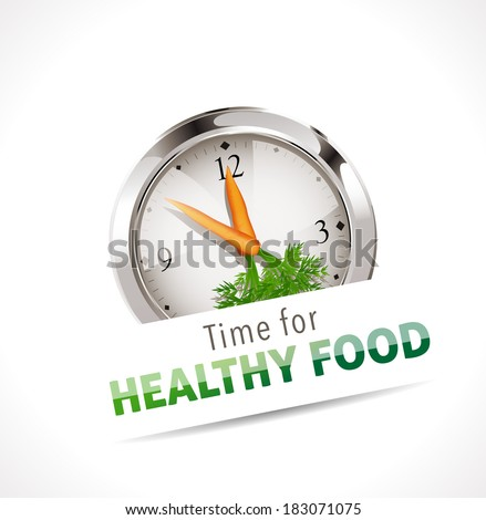 Stopwatch - Time for healthy food - stock vector