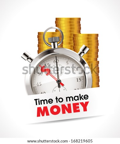 Stopwatch - Time to make money - stock vector